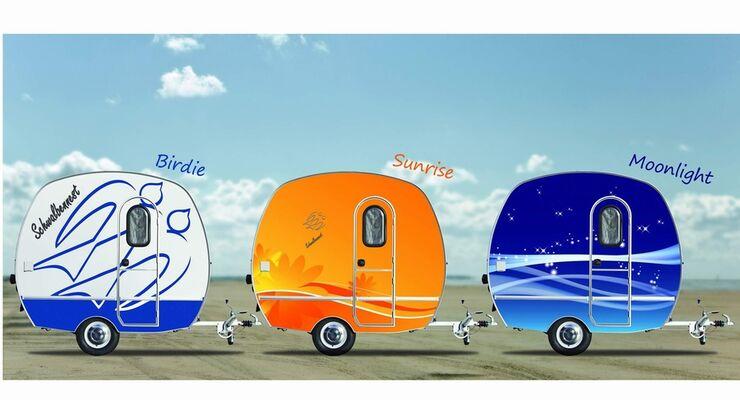 """Auf dem Caravan Salon in Düsseldorf wurden die drei neuen Modelle """"Sunrise"""", """"Moonlight"""" und """"Birdie"""" erstmals vorgestellt"""