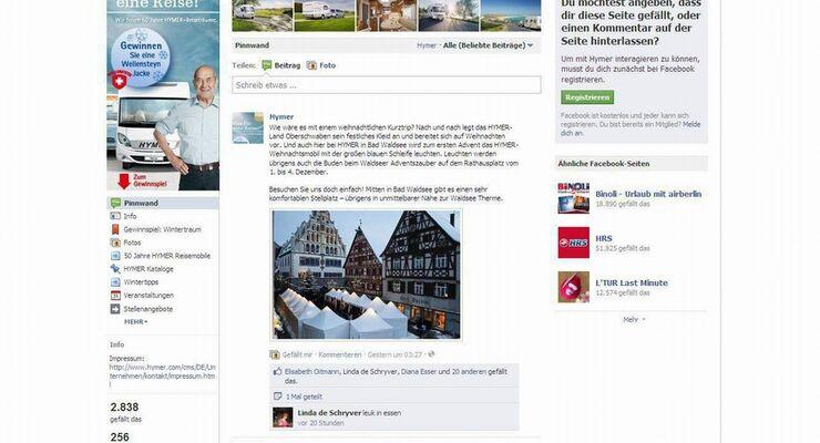 Auf einer eigenen Facebook-Fanpage sowie einer YouTube-Präsenz informiert Hymer über neue Modelle