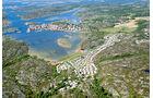 Luftaufnahme von Stocken-Camping an der Westküste Schwedens