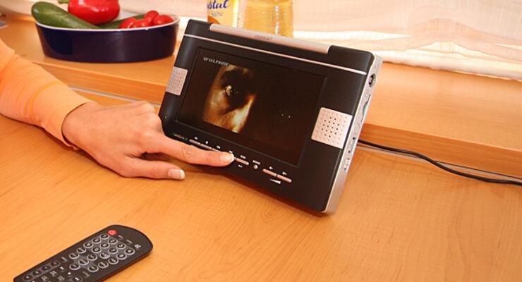 Wohnwagen 7-Zoll-Flachfernseher Auvisio Media-Player analoger TV-Empfang digitales DVB-T