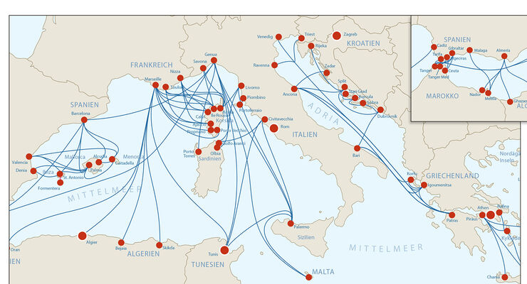 Mittelmeer Karte Inseln.Mit Der Fahre Auf Die Westlichen Inseln Im Mittelmeer Seite